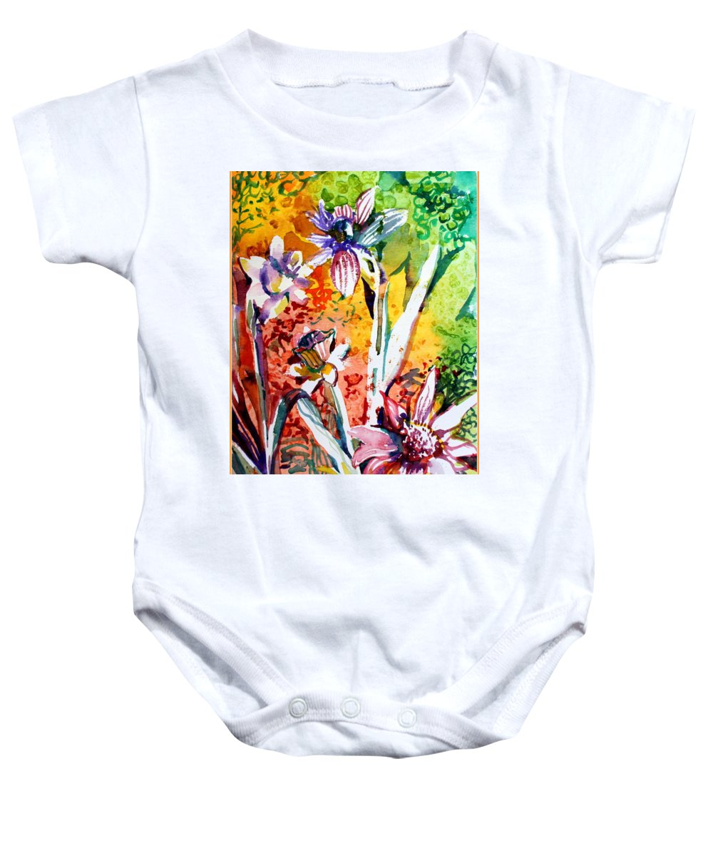 Flowers Baby Onesie featuring the painting Laughing Flowers by Mindy Newman