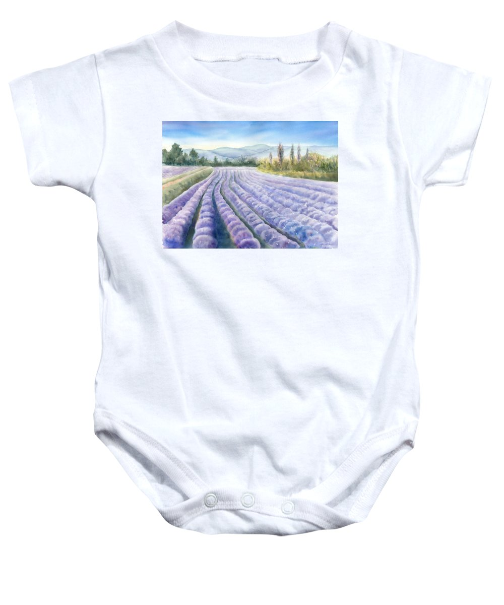 Landscape Baby Onesie featuring the painting Lavender Field by Michiko Taylor