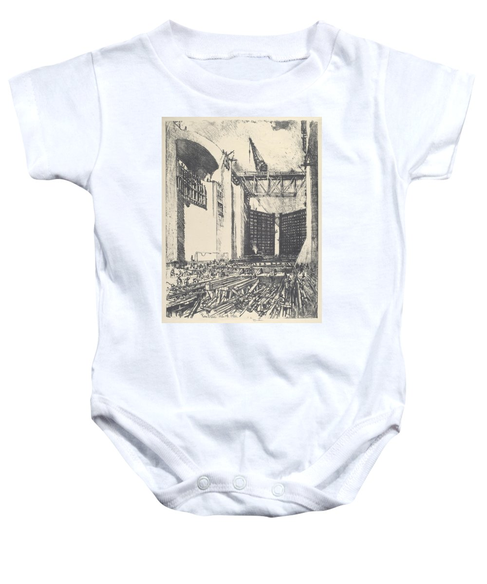 Joseph Pennell Baby Onesie featuring the drawing Laying The Floor Of Pedro Muguel Lock by Joseph Pennell