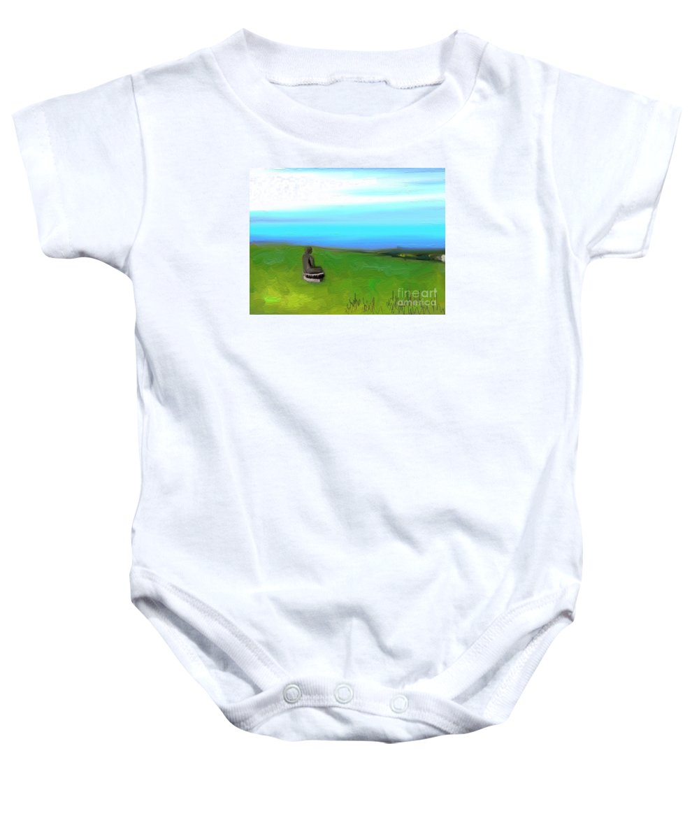 Impressionism Baby Onesie featuring the painting Le Boudha De Maui by Aline Halle-Gilbert