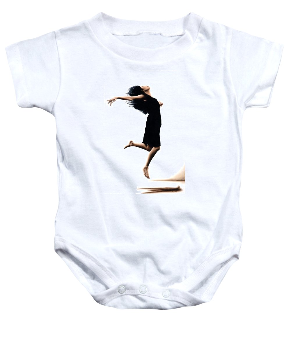 Ballet Baby Onesie featuring the painting Leap Into The Unknown by Richard Young