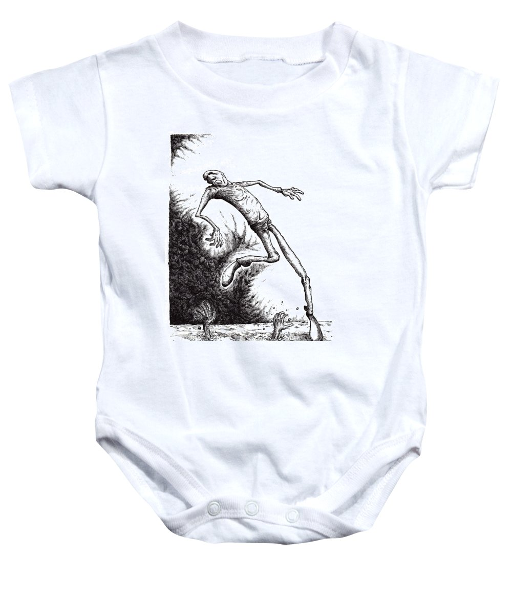 Black And White Baby Onesie featuring the drawing Leap by Tobey Anderson
