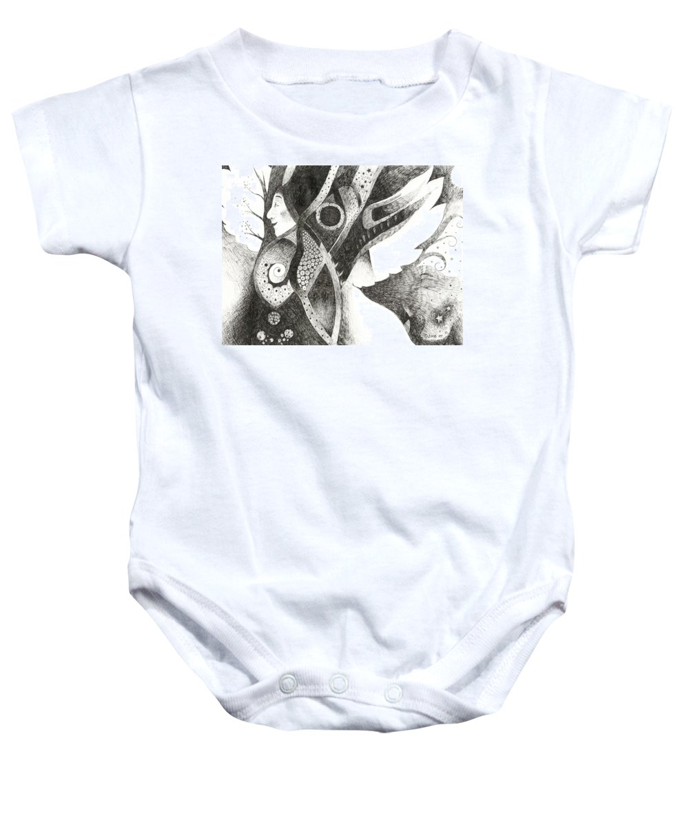 Angel Baby Onesie featuring the drawing Learning To Fly by Helena Tiainen