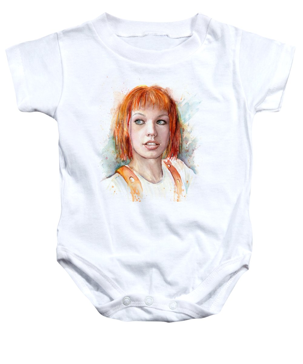 The Fifth Element Baby Onesie featuring the painting Leeloo Portrait Multipass The Fifth Element by Olga Shvartsur