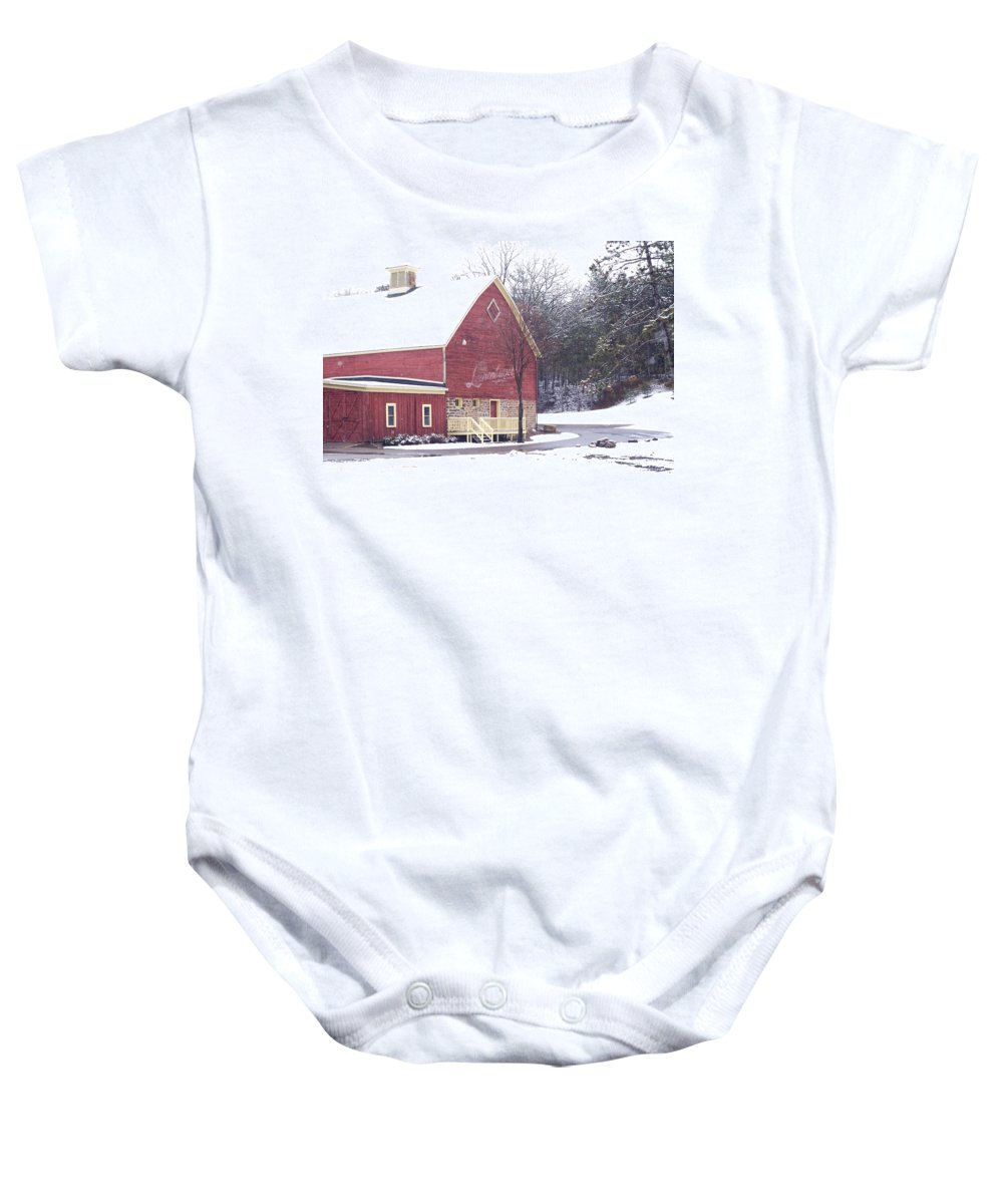 Barn Baby Onesie featuring the photograph Leinie by Tim Nyberg