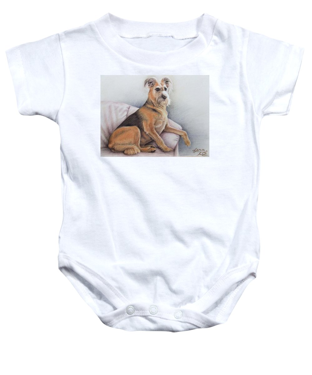 Dog Baby Onesie featuring the pastel Lena by Nicole Zeug