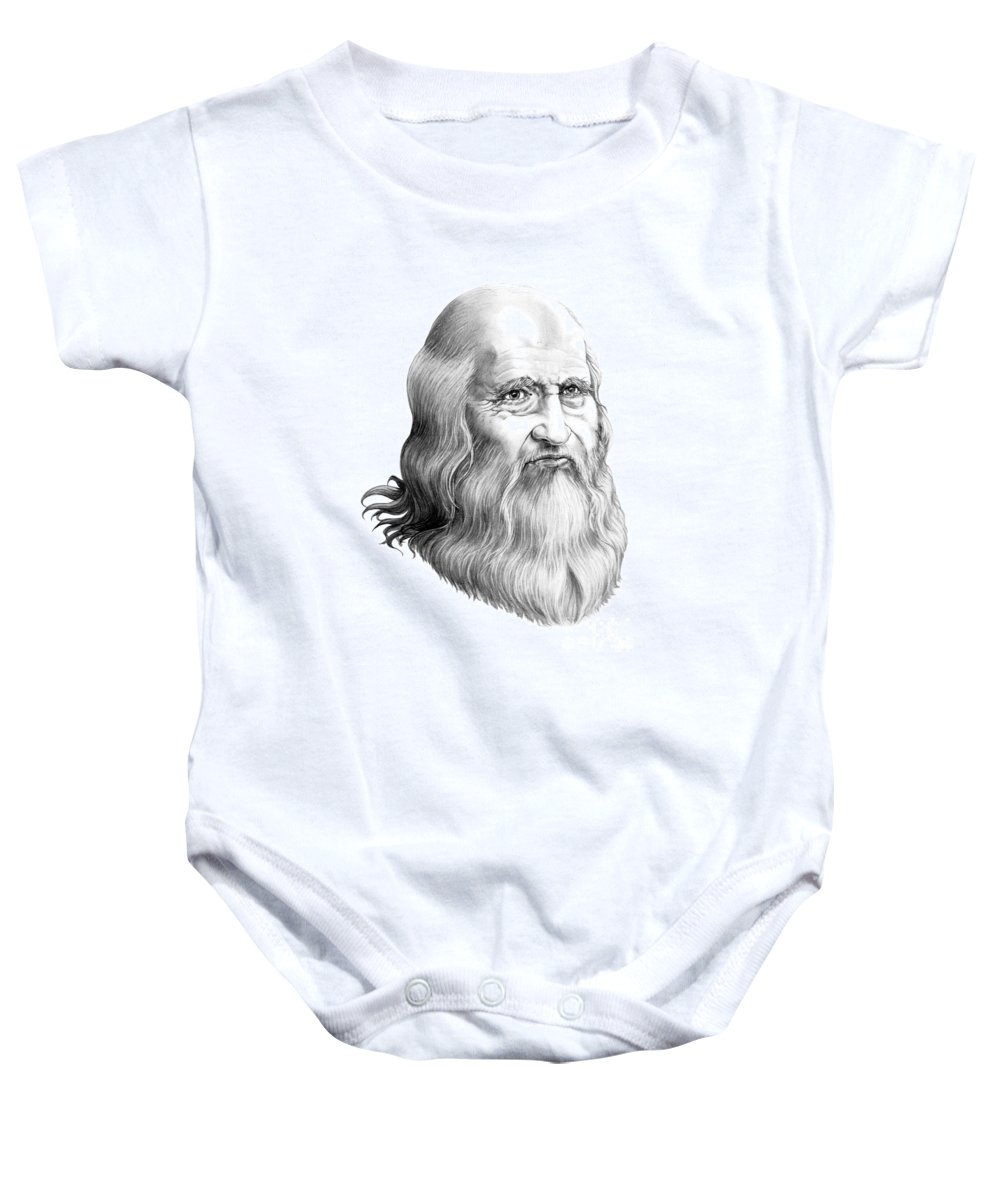 Famous Person Baby Onesie featuring the drawing Leonardo Da Vinci by Murphy Elliott