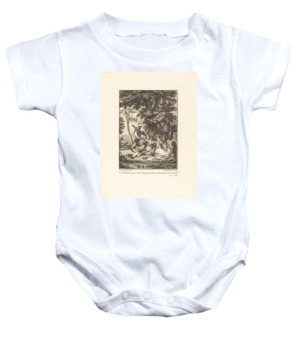 Baby Onesie featuring the drawing Les Fol?tres Jeux Sont Les Premiers Cuisiniers Du Monde by Robert Delaunay After Jean-michel Moreau