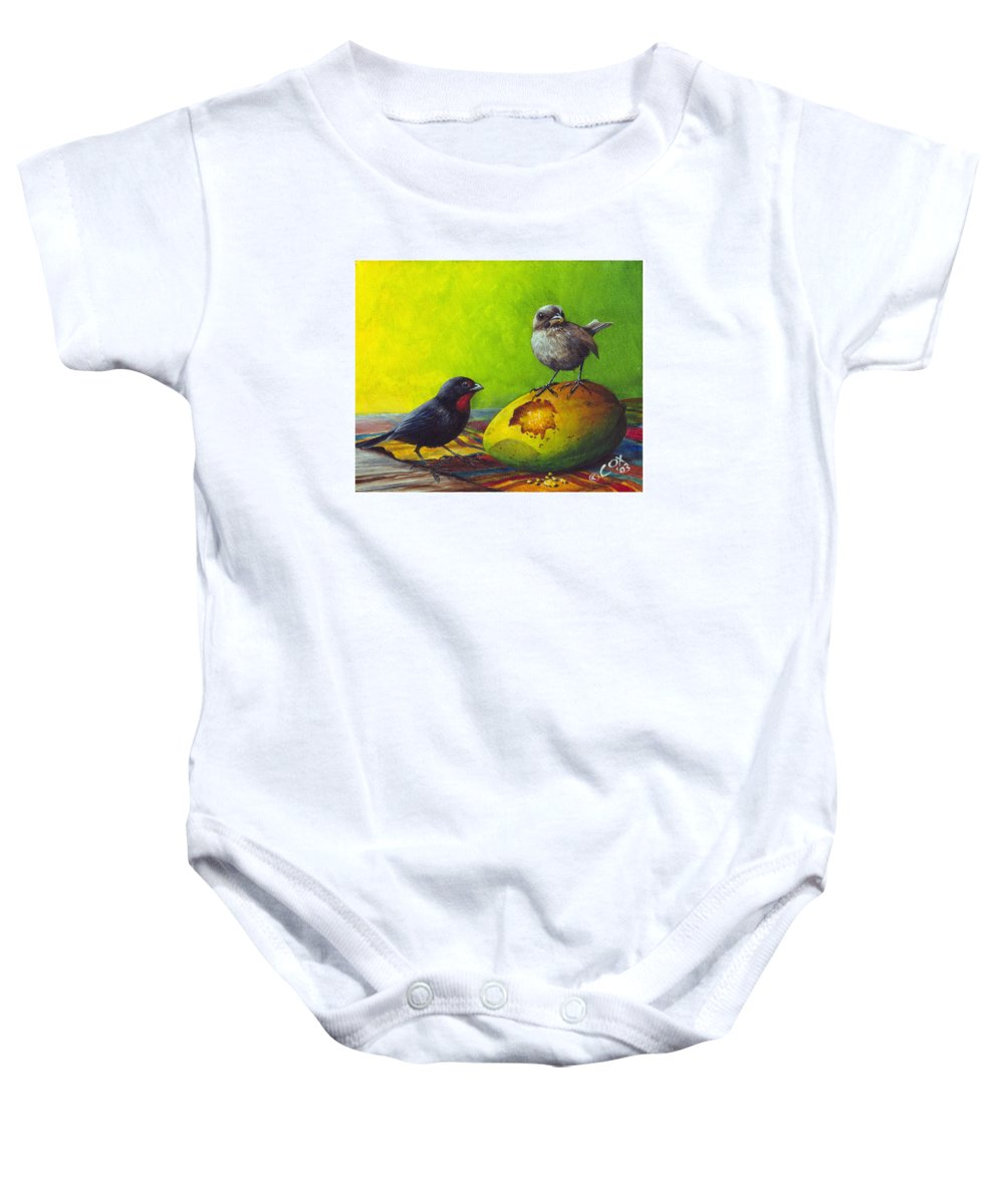 Chris Cox Baby Onesie featuring the painting Lesser Antillean Bullfinches And Mango by Christopher Cox