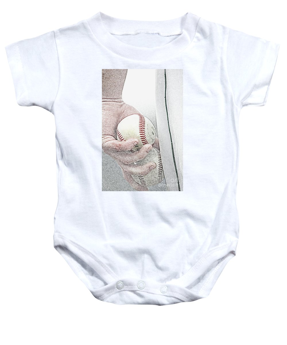 Action Baby Onesie featuring the photograph Lets Try Two by Alan Look