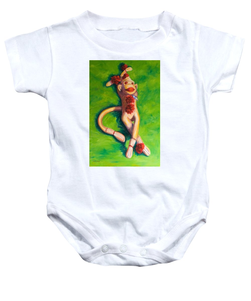 Sock Monkey Baby Onesie featuring the painting Life Is Good by Shannon Grissom