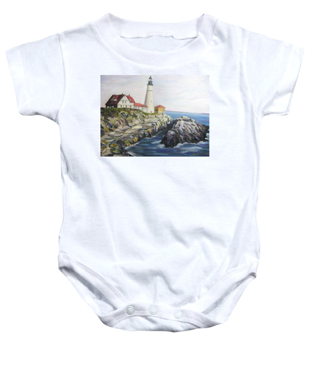 Portland Baby Onesie featuring the painting Light House by Richard Nowak