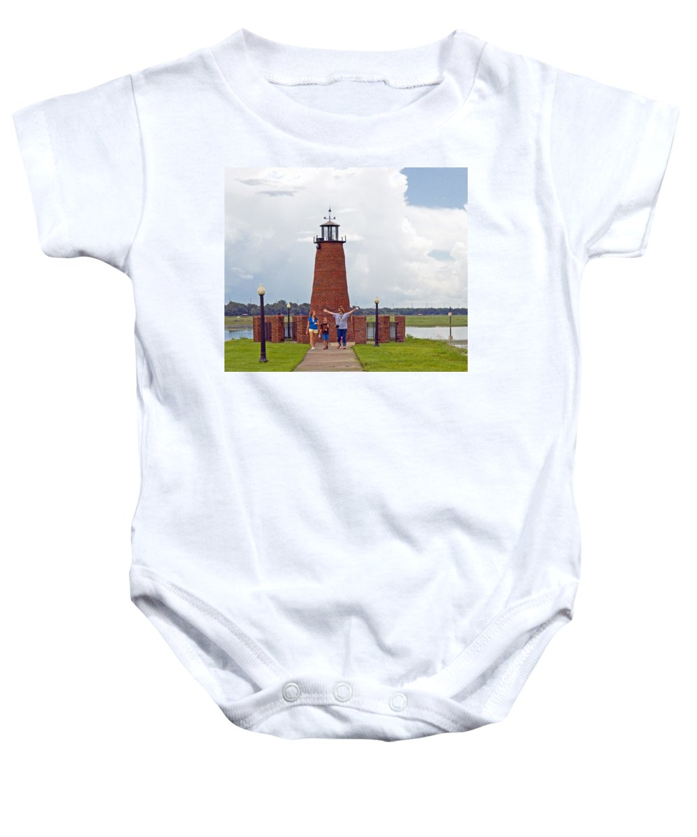 Florida; Kissimmee; Toho; Tohopekaliga; Port; Light; Lighthouse; House; Beacon; Brick; Central; Harb Baby Onesie featuring the photograph Lighthouse At The Port Of Kissimmee On Lake Tohopekaliga In Central Florida by Allan Hughes