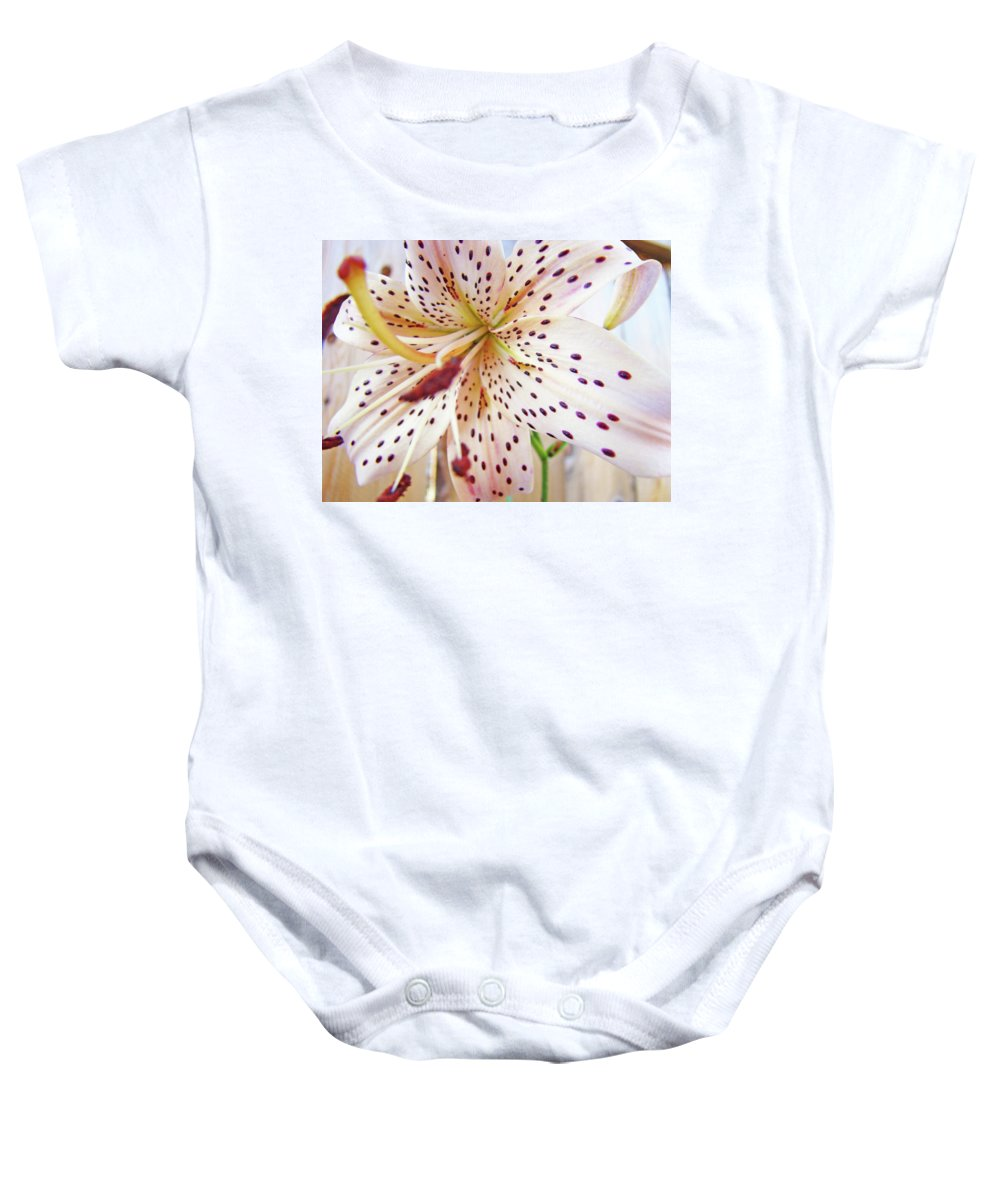 Lilies Baby Onesie featuring the photograph Lily Flower White Lilies Art Prints Baslee Troutman by Baslee Troutman