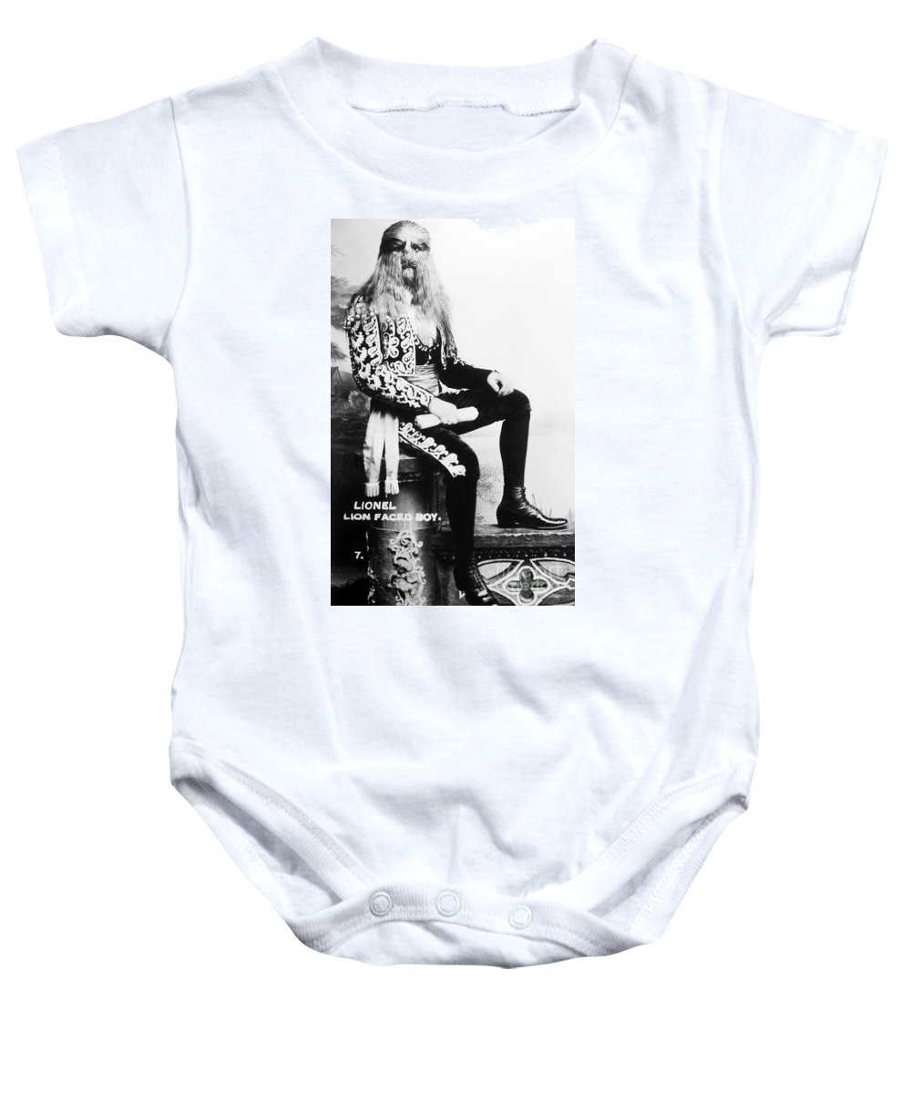 1907 Baby Onesie featuring the photograph Lion-faced Man, 1907 by Granger