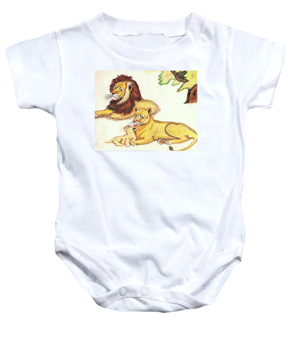 Lions Baby Onesie featuring the drawing Lions Of The Tree by George I Perez