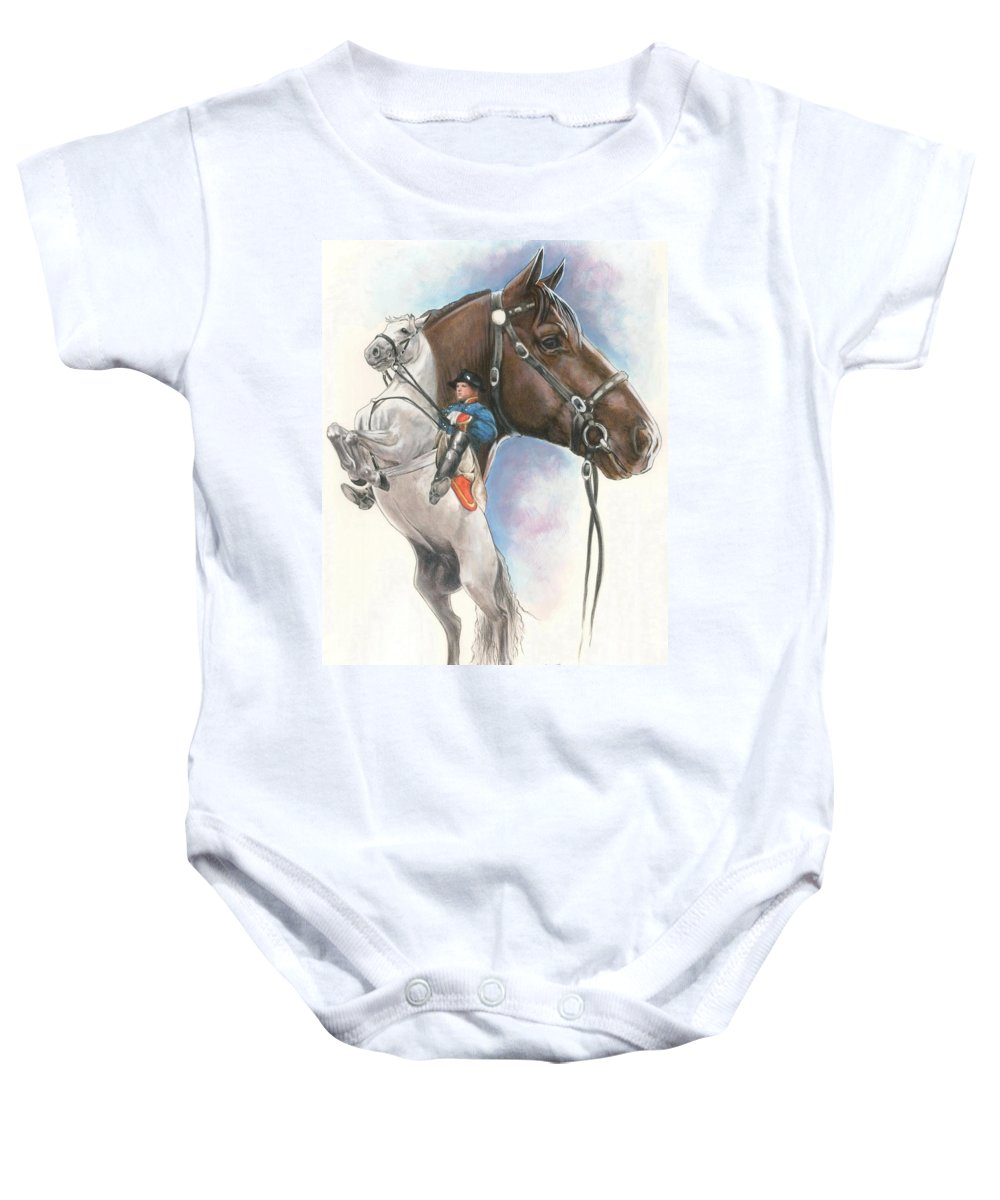 Spanish Riding School Baby Onesie featuring the mixed media Lippizaner by Barbara Keith