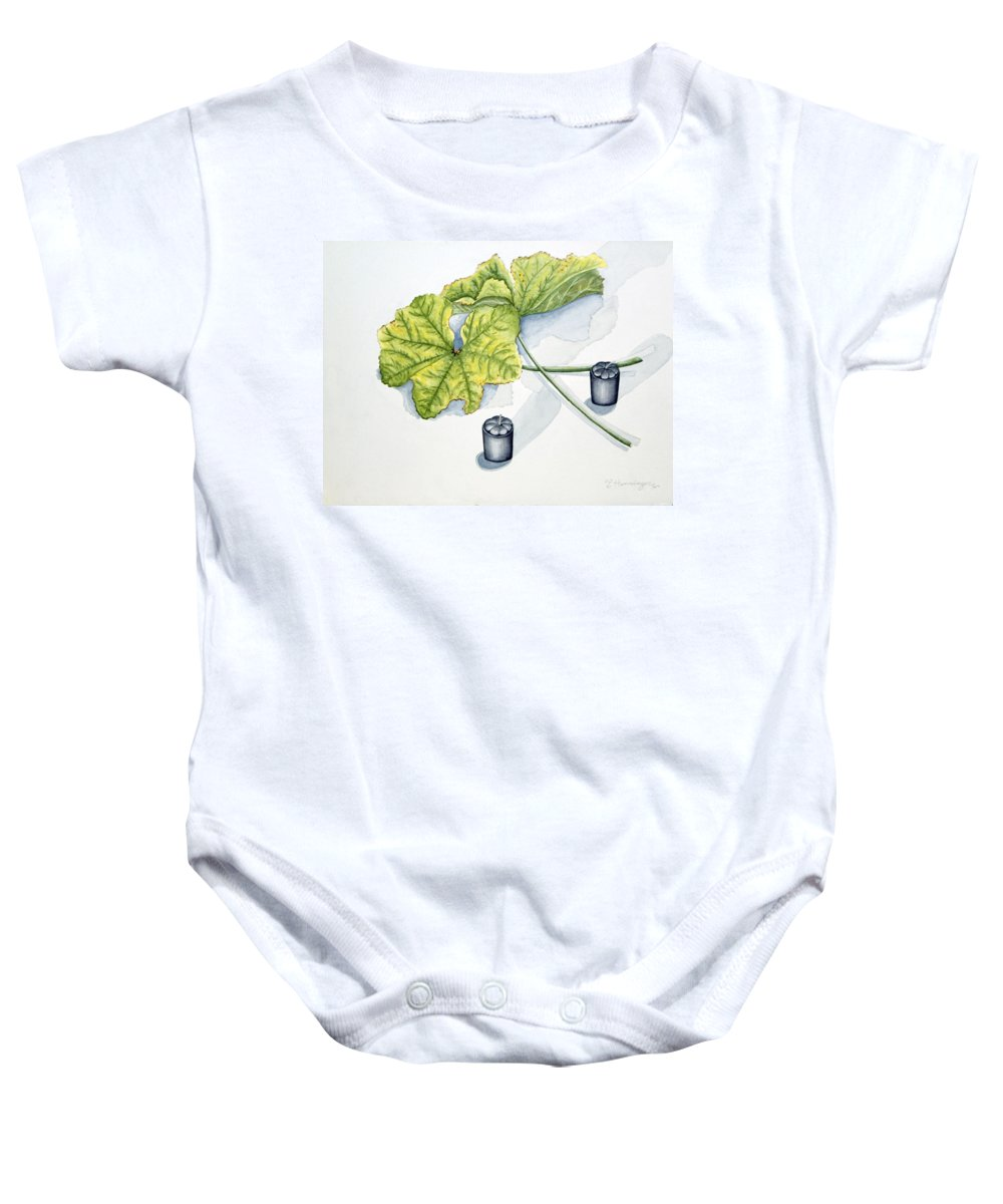 Candles Baby Onesie featuring the painting Little Black Candles by Judy Henninger