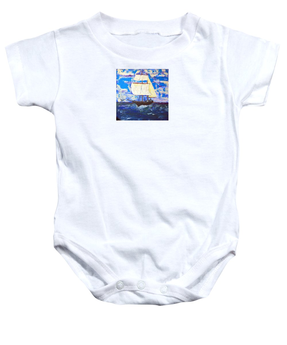 Impressionist Painting Baby Onesie featuring the painting Little Clipper by J R Seymour