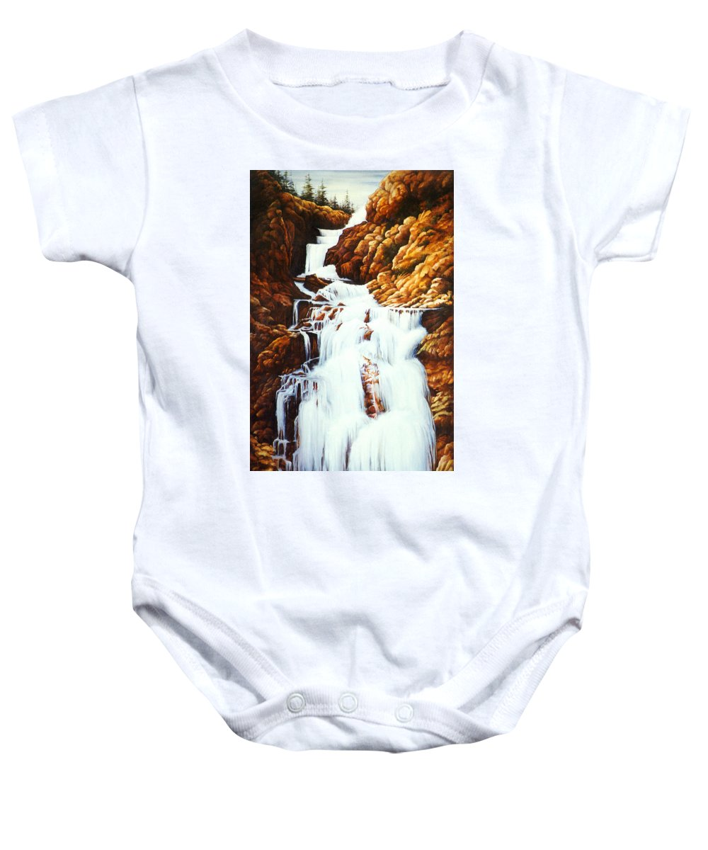 Waterfall Baby Onesie featuring the painting Little Firehole Falls by Teri Rosario