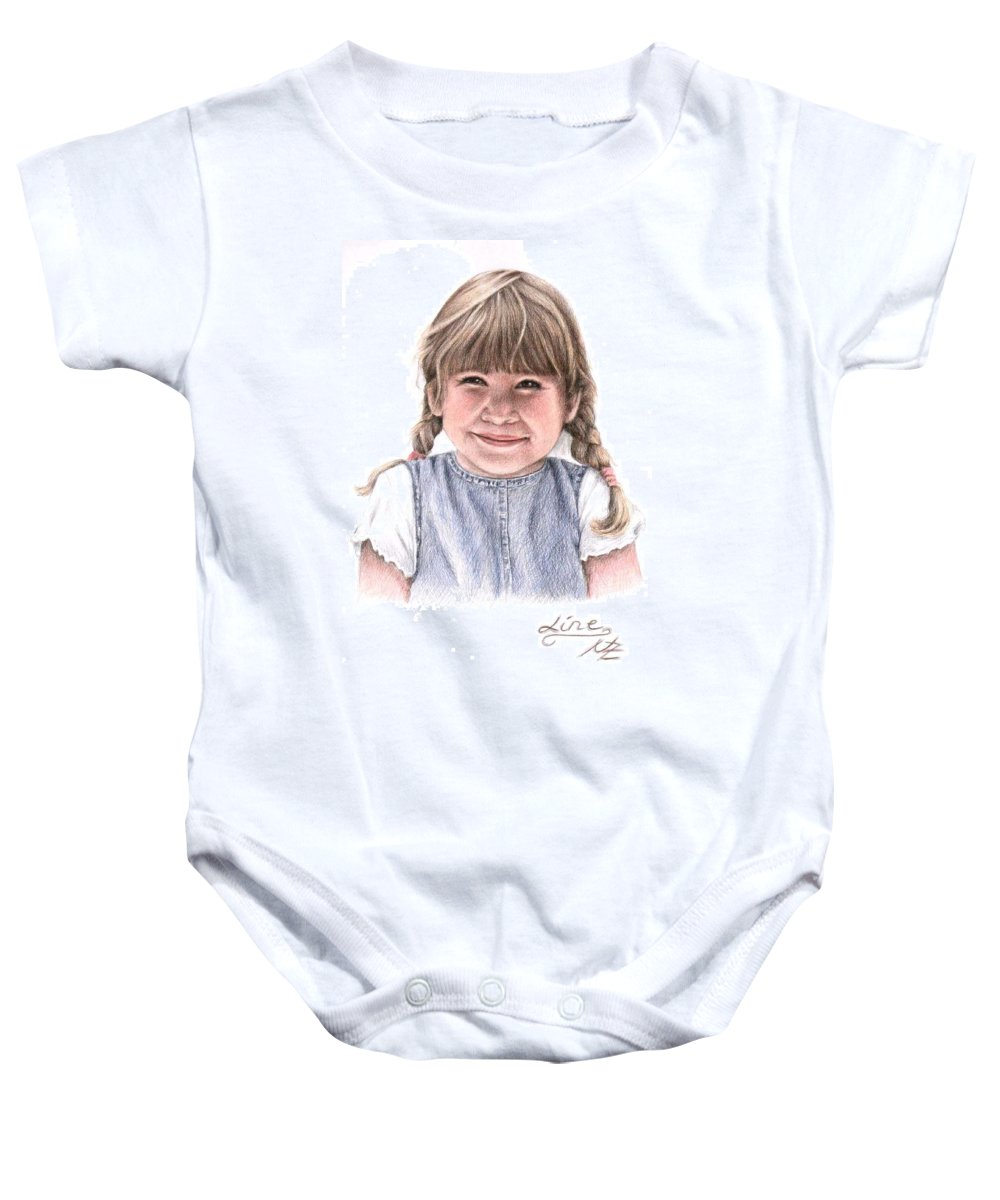 Girl Baby Onesie featuring the drawing Little Girl by Nicole Zeug