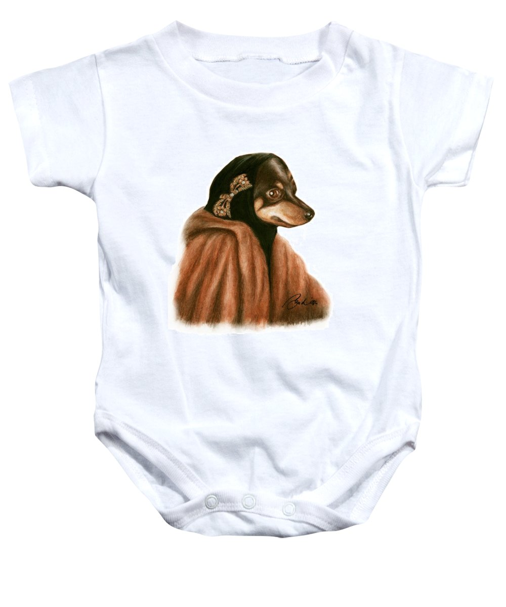 Grey Gardens Dogs Bruce Lennon Art Baby Onesie featuring the painting Little Mighty by Bruce Lennon