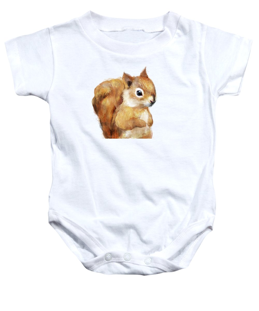 Squirrel Baby Onesie featuring the painting Little Squirrel by Amy Hamilton