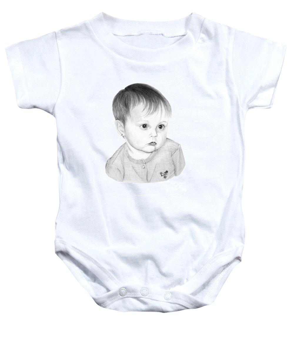 Pencil Baby Onesie featuring the drawing Little Sweetie by Murphy Elliott