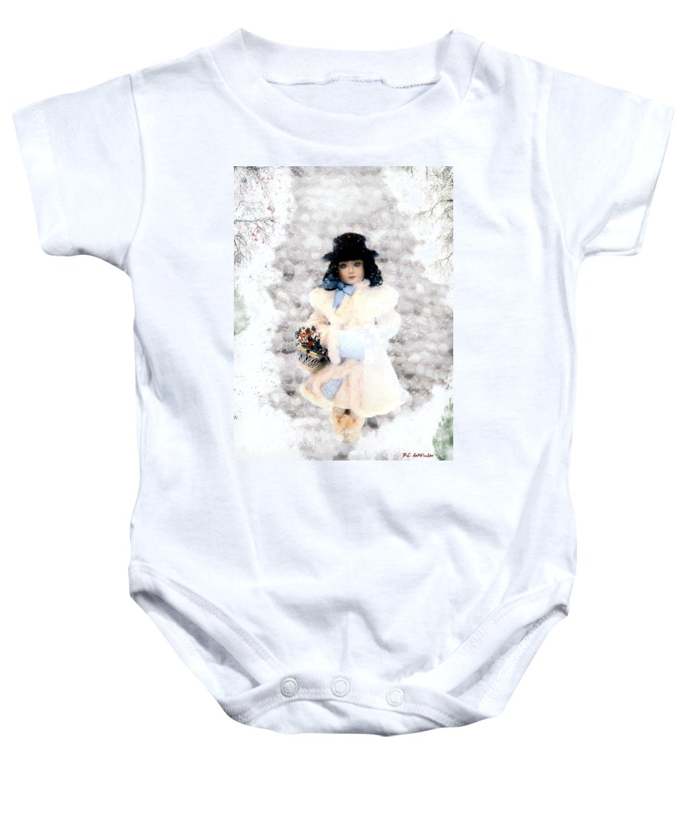 Vintage Baby Onesie featuring the painting Little Visitor by RC DeWinter