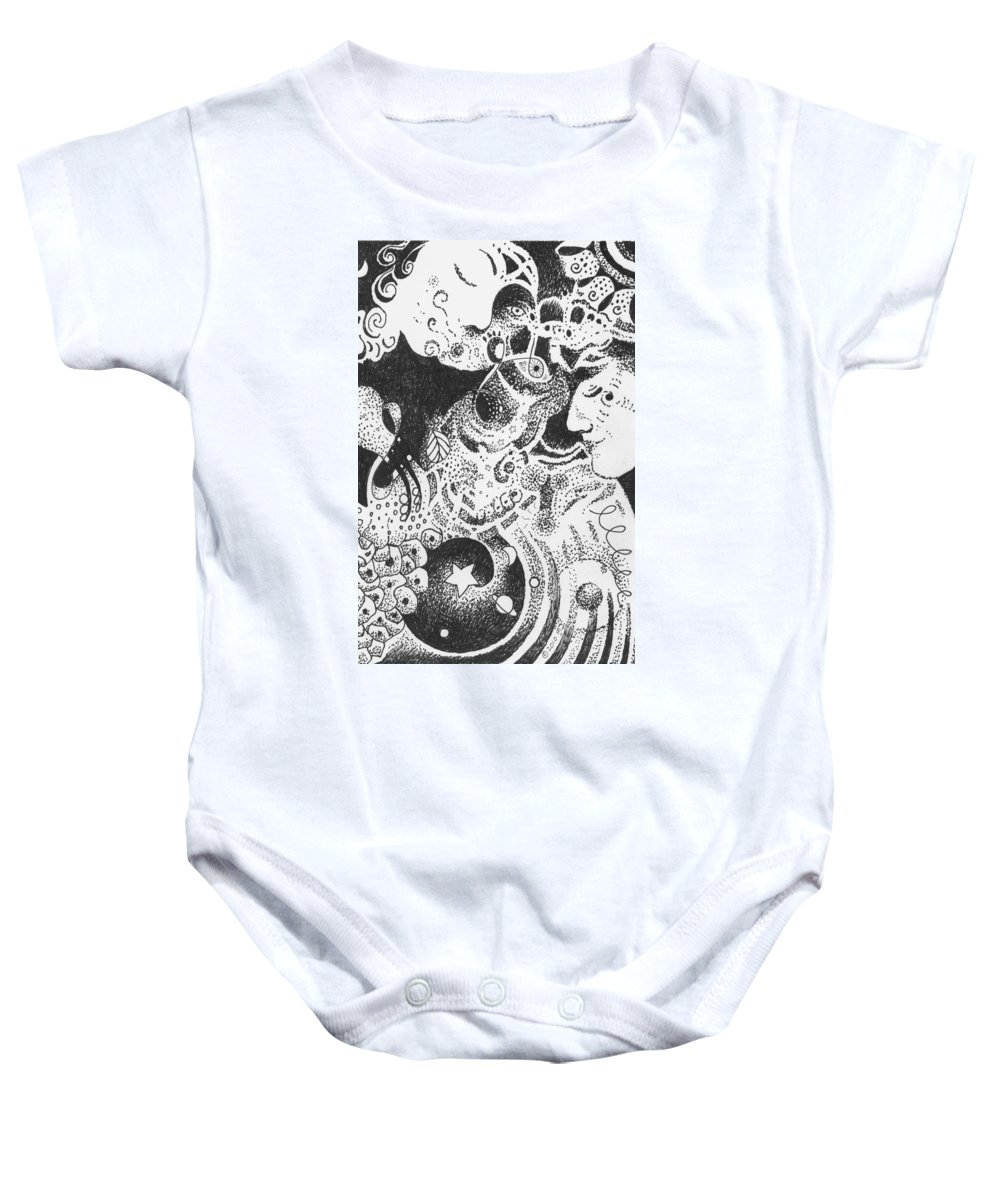 Kiss Of Life Baby Onesie featuring the drawing Living And Loving by Helena Tiainen