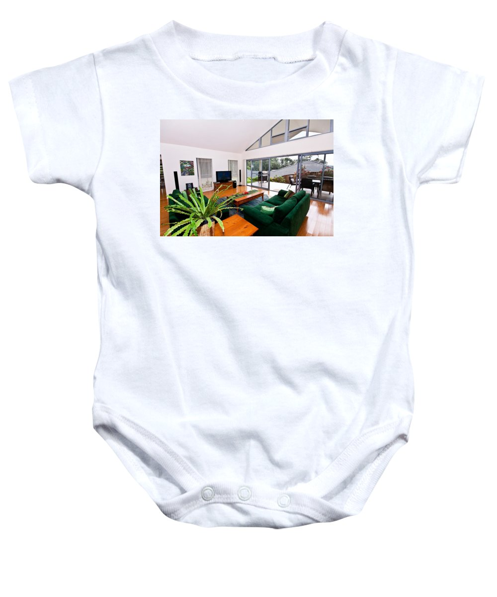 Slanted Baby Onesie featuring the photograph Living Room With Slanted Ceiling by Darren Burton