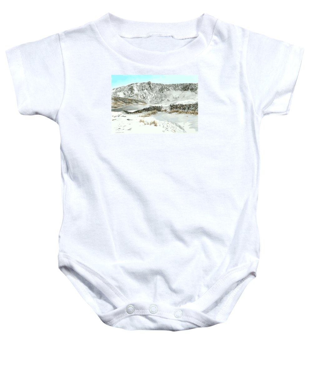 Snow Baby Onesie featuring the painting Llyn Cwm Silyn by Alwyn Dempster Jones