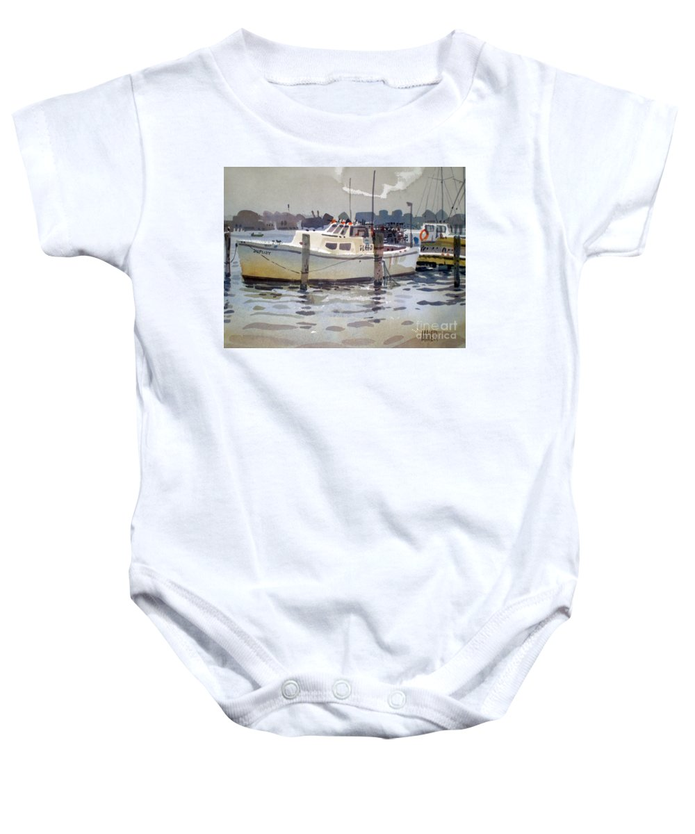 Lobster Boat Baby Onesie featuring the painting Lobster Boats In Shark River by Donald Maier