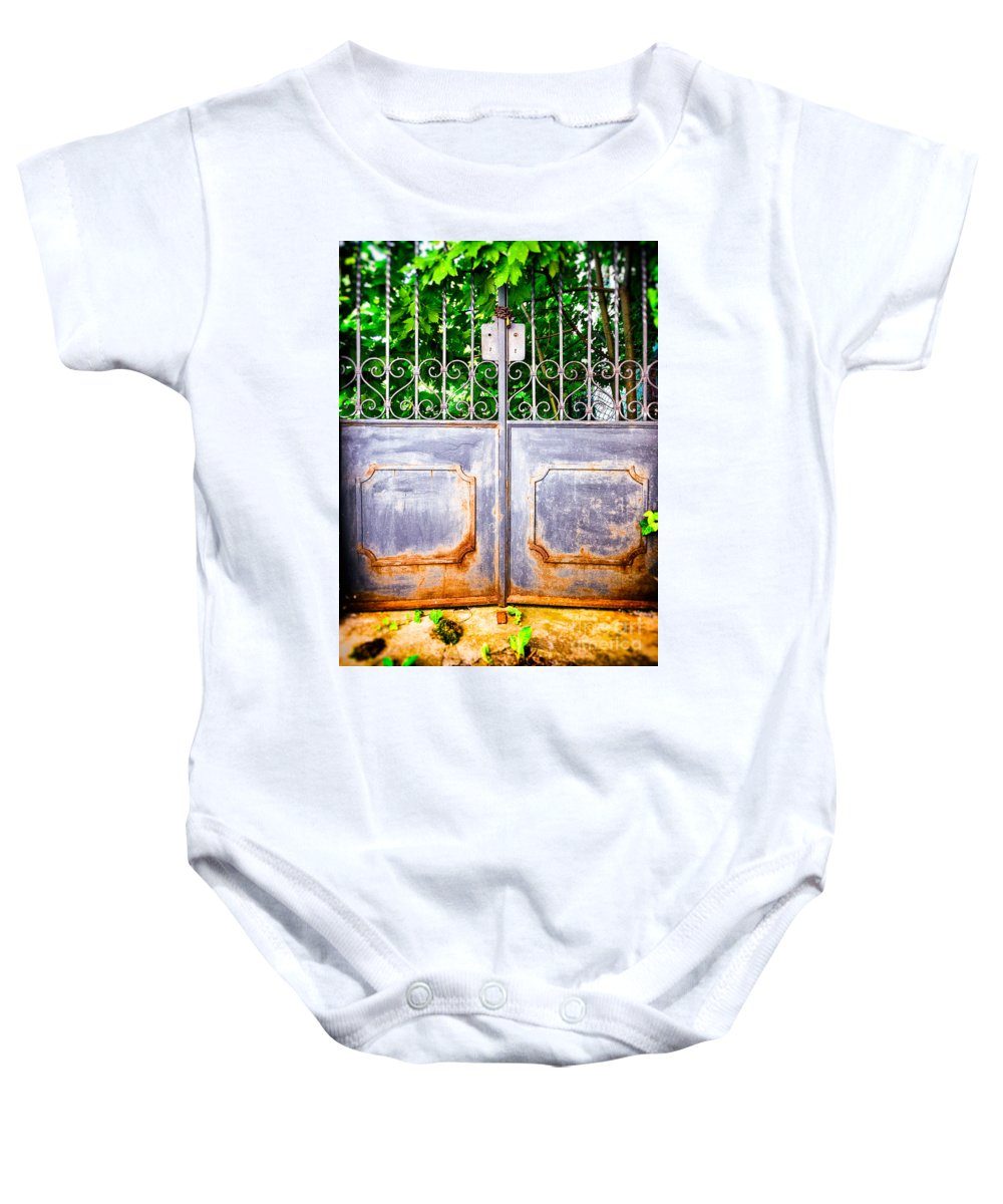 Architecture Baby Onesie featuring the photograph Locked Gate With Trees by Silvia Ganora