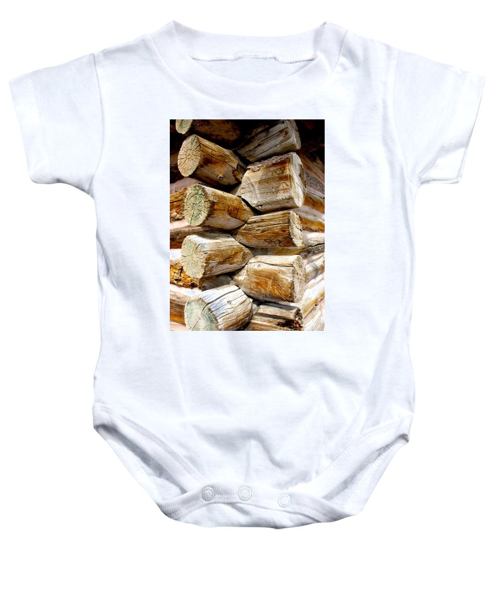 Log Baby Onesie featuring the photograph Log Cabin Corner by Dennis Galloway