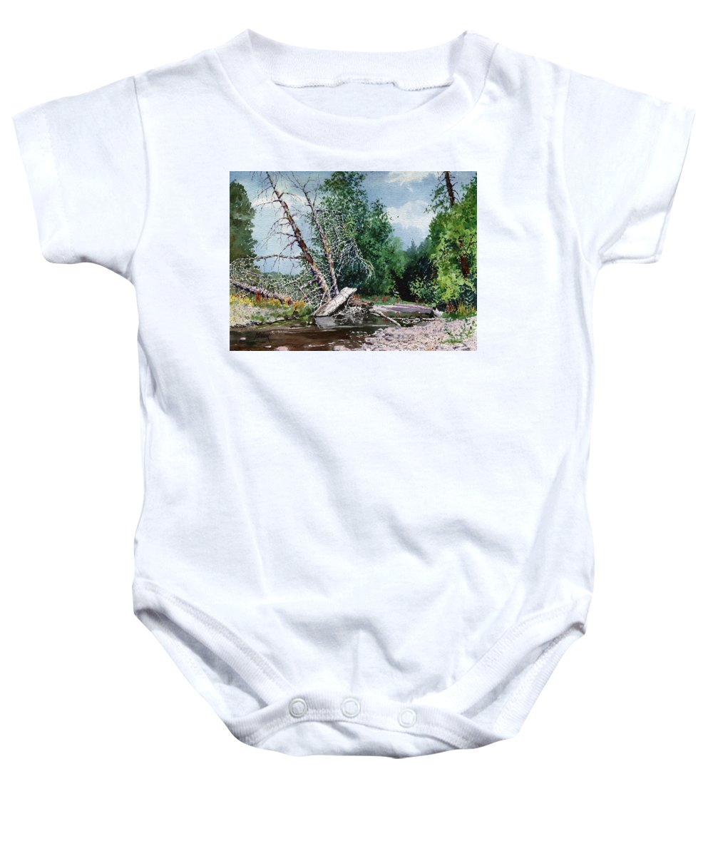 Washington State Baby Onesie featuring the painting Log Jam by Donald Maier