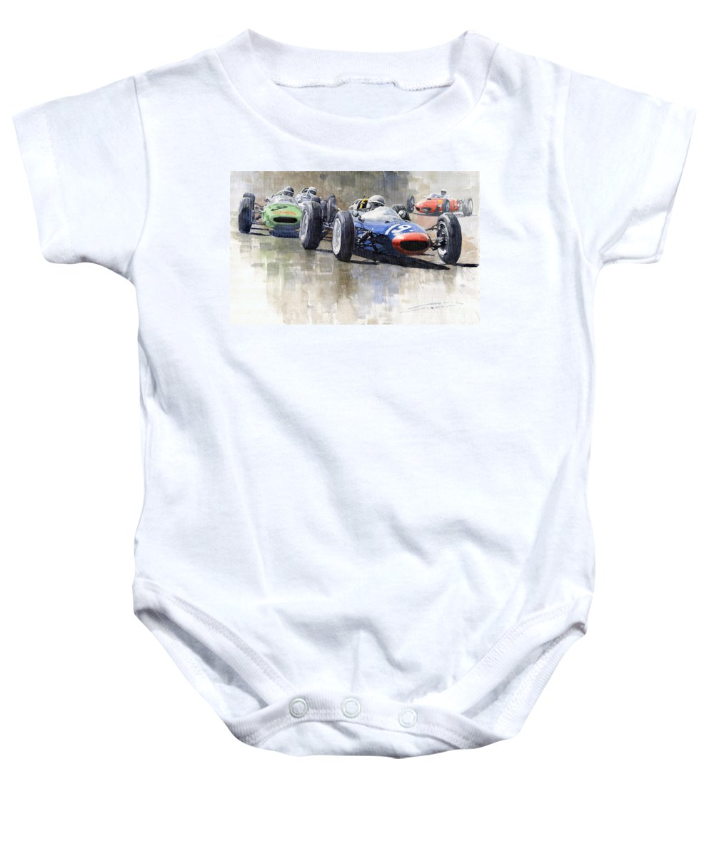 Automotive Baby Onesie featuring the painting Lola Lotus Cooper Ferrari Datch Gp 1962 by Yuriy Shevchuk
