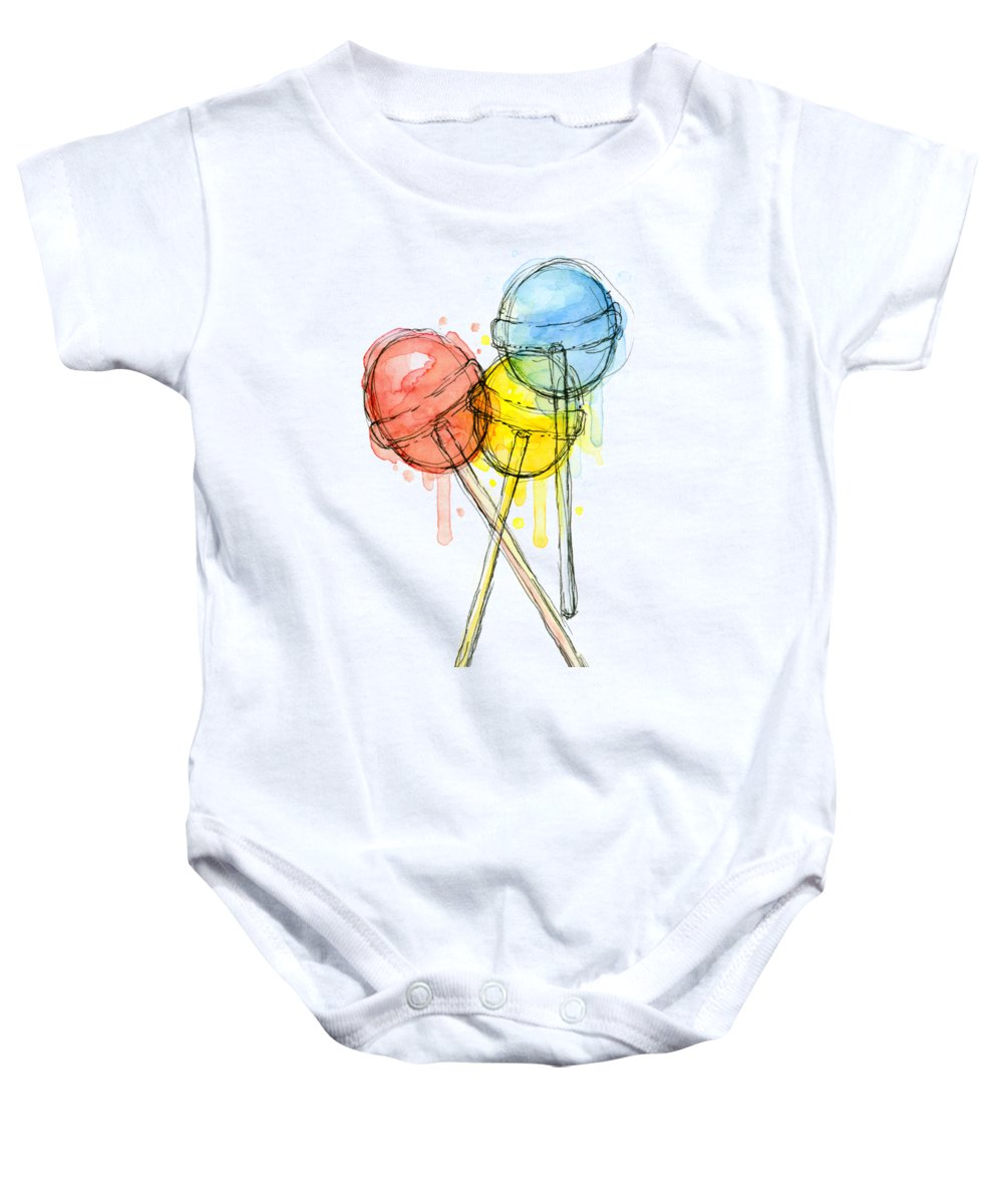 Lollipop Baby Onesie featuring the painting Lollipop Candy Watercolor by Olga Shvartsur