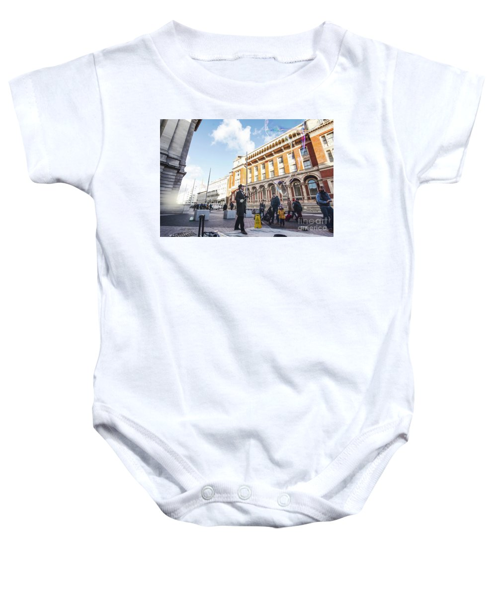 Victoria And Albert Museum Baby Onesie featuring the photograph London Bubbles 11 by Alex Art and Photo