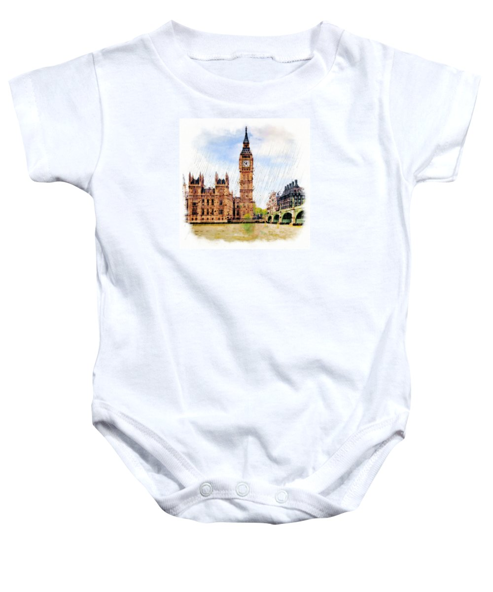 London Baby Onesie featuring the mixed media London Calling by Marian Voicu