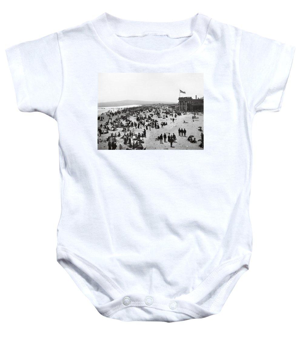 long Beach Baby Onesie featuring the photograph Long Beach California And Bath House C. 1902 by Daniel Hagerman