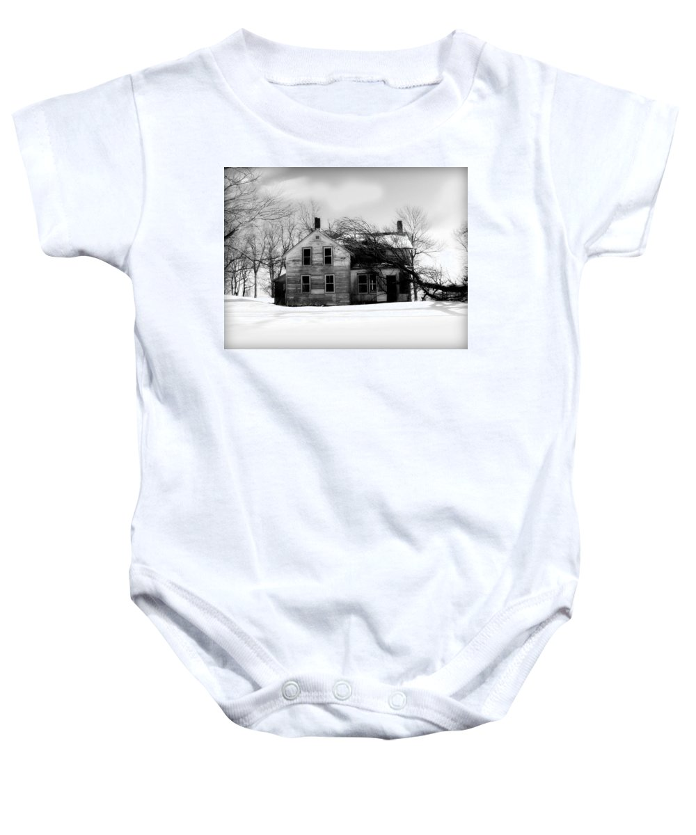 Black And White Baby Onesie featuring the photograph Long Gone by Julie Hamilton