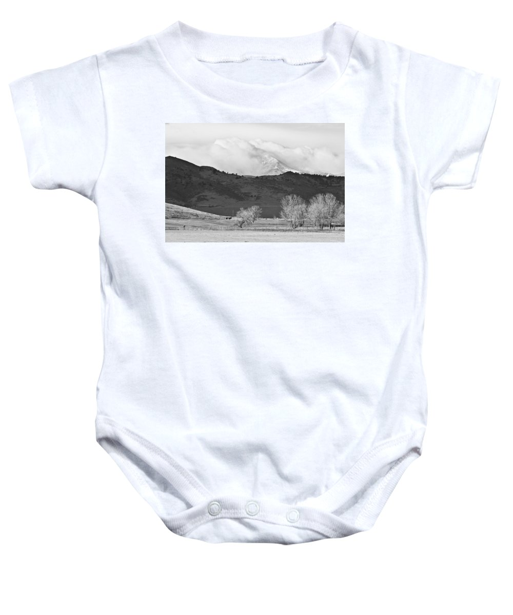 Colorado Baby Onesie featuring the photograph Longs Peak Snow Storm Bw by James BO Insogna