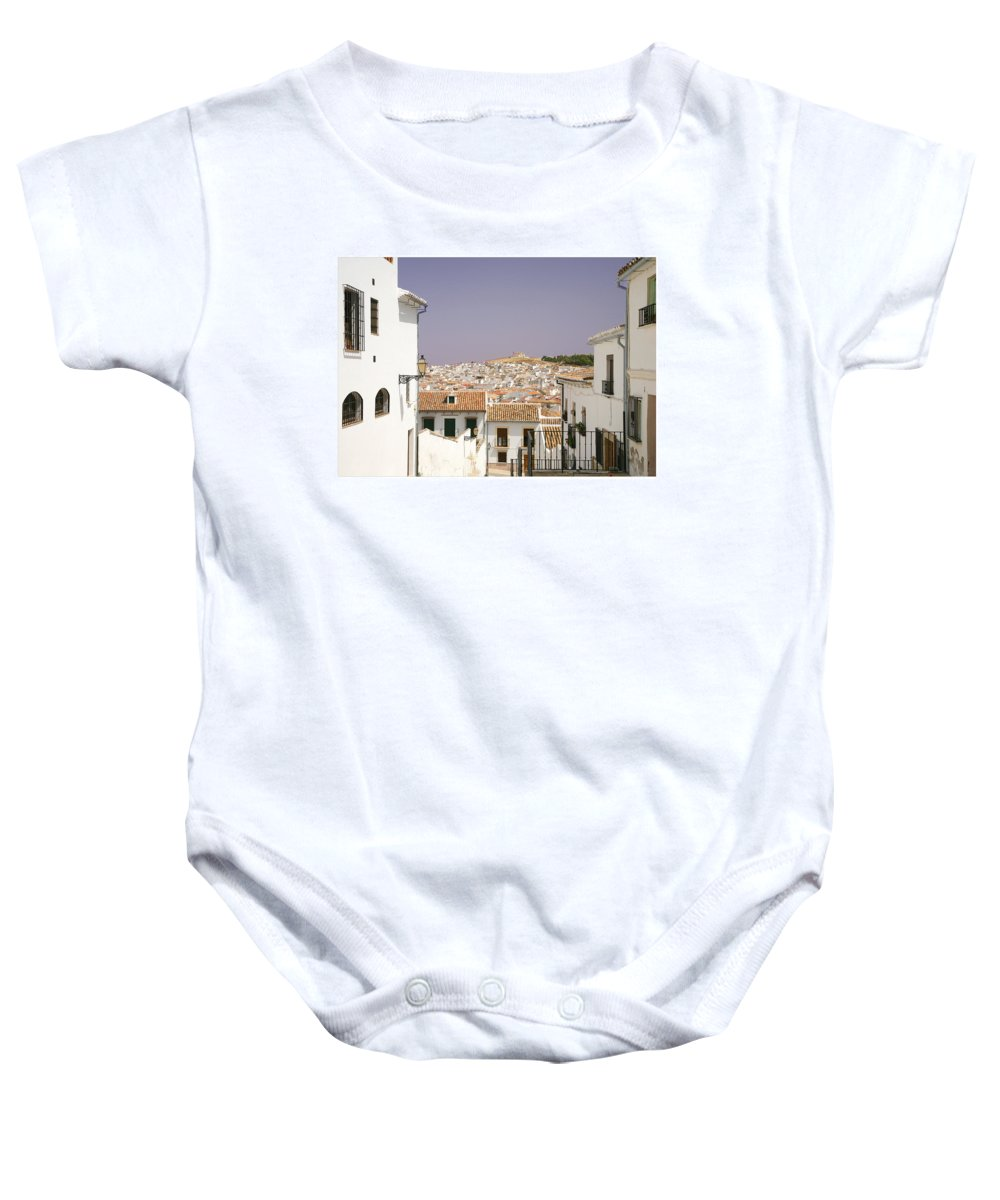 Antequera Baby Onesie featuring the photograph Looking Down Over Antequera From Near The Church Of Santa Maria La Mayor by Mal Bray
