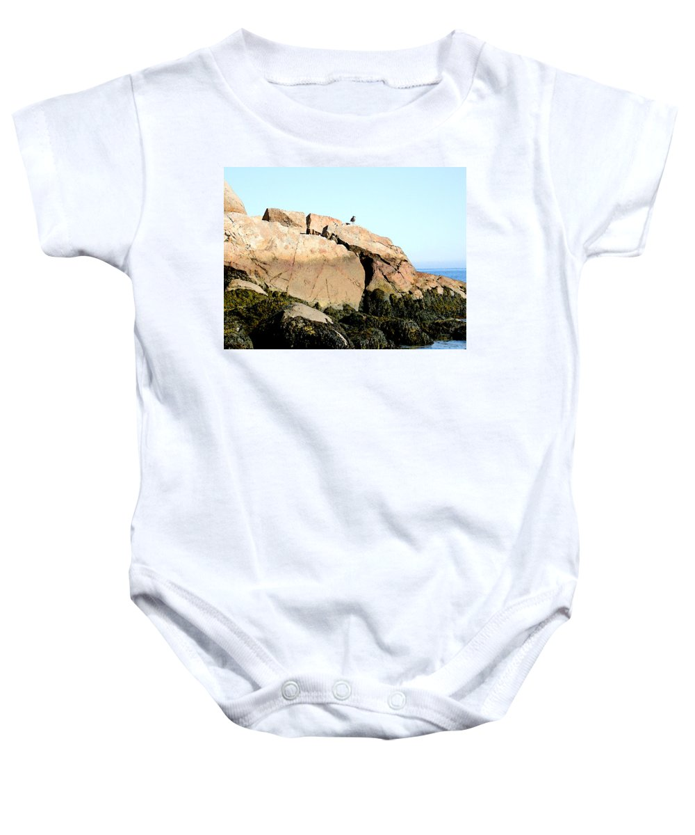 Sea Baby Onesie featuring the painting Looking Out To Sea by Paul Sachtleben