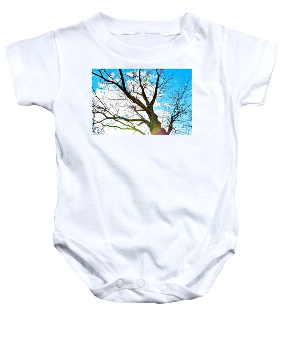 Tree Baby Onesie featuring the photograph Looking Up by Jennifer Wick