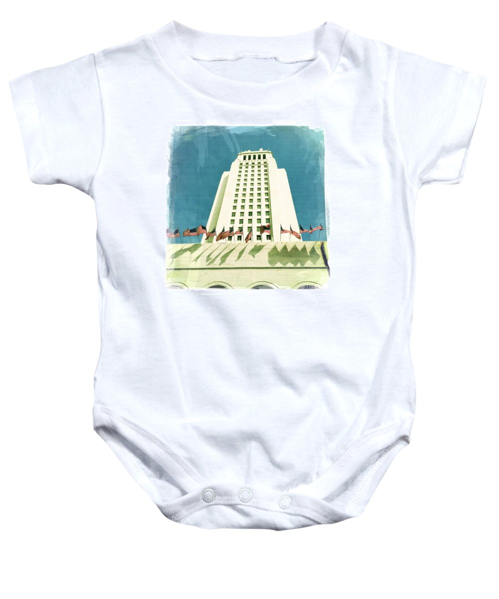 Los Angeles City Hall Baby Onesie featuring the photograph Los Angeles City Hall by Nina Prommer