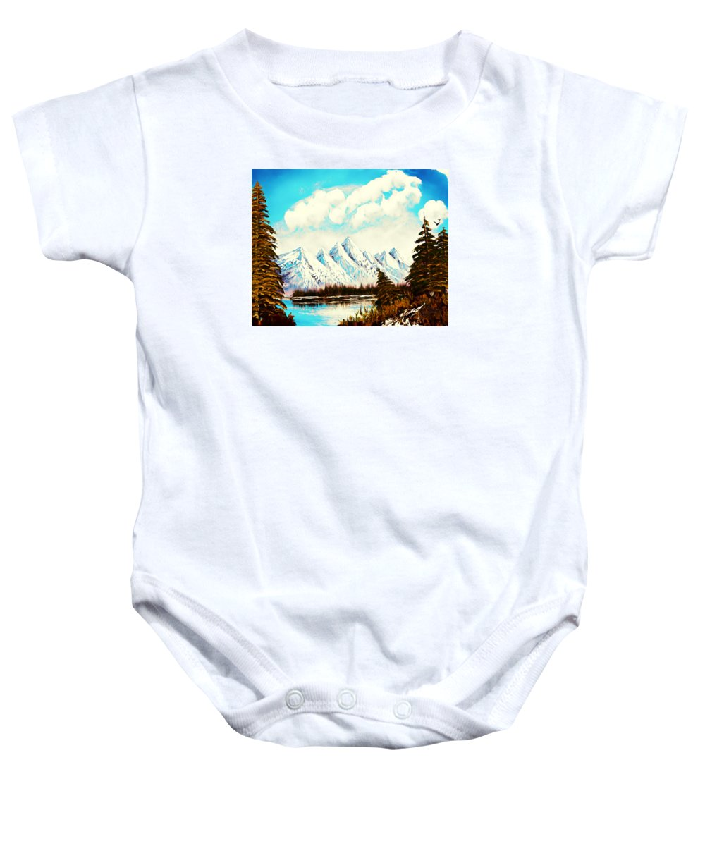 Alaska Baby Onesie featuring the painting Lost Blue Lagoon - Elegance With Oil by Claude Beaulac