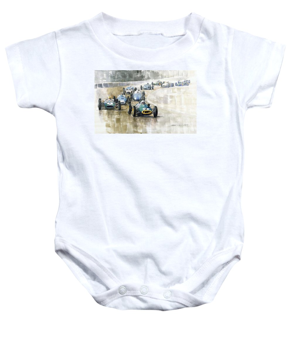 Automotive Baby Onesie featuring the painting 1961 Germany Gp #7 Lotus Climax Stirling Moss Winner by Yuriy Shevchuk