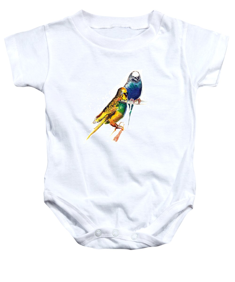 Nature Baby Onesie featuring the painting Love Birds by Anil Nene